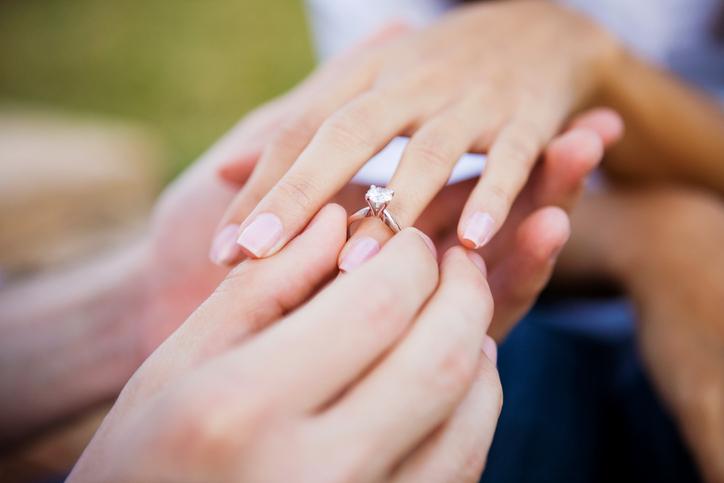 Inel de logodna pus pe deget